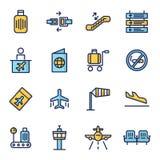 Icone di vettore dell'aeroporto riguardanti Immagini Stock