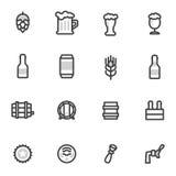 Icone di vettore della birra, etichette, segni simboli ed elementi di progettazione, ristoranti, pub, caffè Immagini Stock Libere da Diritti