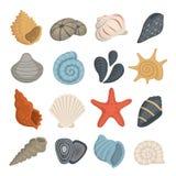 Icone di vettore della conchiglia nello stile del fumetto Metta del mollusco della vongola Conchiglia dell'oceano illustrazione vettoriale
