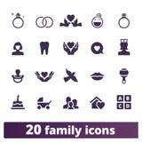 Icone di vettore della famiglia, di Parenting e di infanzia illustrazione di stock