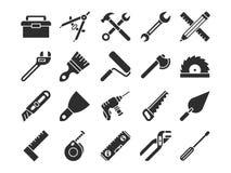 Icone di vettore della siluetta degli strumenti di ingegneria e della costruzione royalty illustrazione gratis