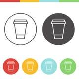Icone di vettore della tazza di caffè Fotografia Stock