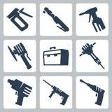 Icone di vettore delle macchine utensili Immagini Stock Libere da Diritti