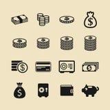 Icone di vettore delle monete e dei soldi per contare Fotografia Stock Libera da Diritti