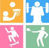 Icone di vettore delle siluette degli sportivi Fotografia Stock Libera da Diritti