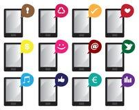 Icone di vettore dello Smart Phone con i simboli di Internet nei fumetti Fotografia Stock Libera da Diritti