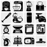Icone di vettore di aplliance della cucina della famiglia Immagini Stock Libere da Diritti