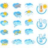 Icone di vettore di bollettino meteorologico Fotografia Stock