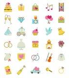 Icone di vettore di cerimonia nuziale impostate Accessori di cerimonia di matrimonio e di impegno royalty illustrazione gratis