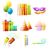 Icone di vettore di compleanno impostate Immagini Stock
