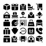 Icone 5 di vettore di consegna di logistica Immagine Stock Libera da Diritti