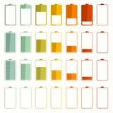 Icone di vettore di durata di vita della batteria messe Immagine Stock
