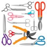Icone di vettore di forbici messe illustrazione di stock