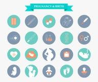 Icone di vettore di gravidanza e della medicina messe illustrazione vettoriale