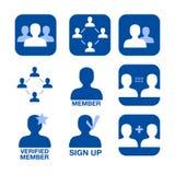 Icone di vettore di insieme dei membri della rete Fotografie Stock