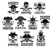 Icone di vettore di Jolly Roger o del pirata messe illustrazione vettoriale