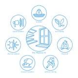 Icone di vettore di produzione del PVC messe illustrazione di stock