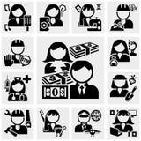 Icone di vettore di professioni della gente messe su gray Immagini Stock Libere da Diritti