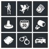 Icone di vettore di prostituzione della via messe Fotografia Stock Libera da Diritti