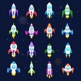 Icone di vettore di Rocket isolate Immagine Stock