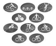 Icone di vettore di sport della corsa di riciclaggio della bicicletta messe Fotografie Stock Libere da Diritti