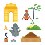 Icone di vettore di viaggio dell'India Immagini Stock
