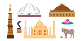 Icone di vettore di viaggio dell'India Immagine Stock Libera da Diritti