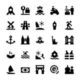 Icone 10 di vettore di viaggio e di turismo Immagini Stock