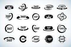 Icone di vettore di vista di 360 gradi messe Icone di realtà virtuale Illustrazioni isolate di vettore Versione in bianco e nero illustrazione di stock