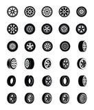 Icone di vettore di glifo dei pneumatici messe royalty illustrazione gratis
