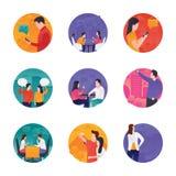 Icone di vettore di interazione illustrazione di stock