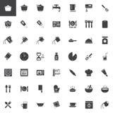 Icone di vettore di istruzioni di cottura messe royalty illustrazione gratis
