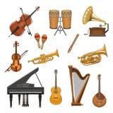 Icone di vettore messe degli strumenti musicali illustrazione vettoriale