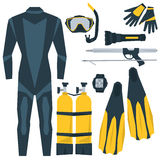 Icone di vettore messe dell'attrezzatura per l'immersione Fotografie Stock Libere da Diritti