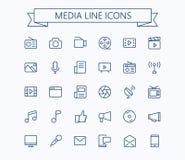 Icone di vettore di multimedia messe Linea sottile griglia del profilo 24x24 Pixel perfetto Colpo editabile Immagini Stock