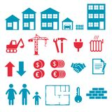 Icone di vettore per creare infographics circa la costruzione di appartamento e della casa, l'acquisto e l'affitto del mercato illustrazione vettoriale
