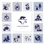 Icone di vettore di riscaldamento globale sul tema dei problemi di ecologia del nostro pianeta complessivamente royalty illustrazione gratis