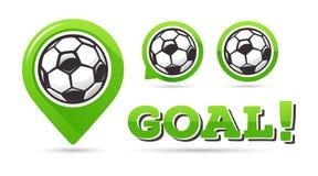 Icone di vettore di scopo di calcio Scopo di calcio Insieme delle icone di calcio Puntatore della mappa di calcio Requisito di gi Fotografie Stock
