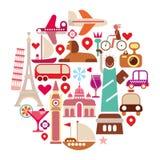 Icone di viaggio Fotografia Stock