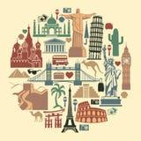 Icone di viaggio del punto di riferimento Immagini Stock Libere da Diritti
