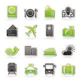 Icone di viaggio, del trasporto e di vacanza Immagine Stock Libera da Diritti