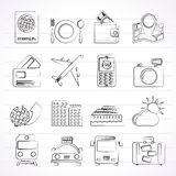 Icone di viaggio, del trasporto e di vacanza Immagini Stock Libere da Diritti