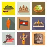 Icone di viaggio della Cambogia illustrazione vettoriale
