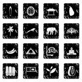 Icone di viaggio dello Sri Lanka messe Fotografia Stock Libera da Diritti