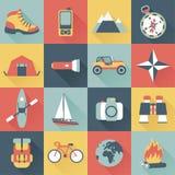 Icone di viaggio di avventura Fotografia Stock Libera da Diritti