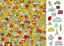 Icone di viaggio di destra del ritrovamento, gioco visivo Soluzione nello strato nascosto! Immagine Stock