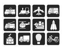 Icone di viaggio e del trasporto della siluetta Fotografia Stock Libera da Diritti