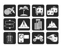 Icone di viaggio e del trasporto di festa della siluetta Fotografia Stock