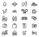 Icone di viaggio e di turismo Fotografia Stock Libera da Diritti