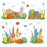Icone di viaggio e punti di riferimento differenti Isolato famoso dei posti del mondo su bianco Illustrazioni di vettore messe royalty illustrazione gratis
